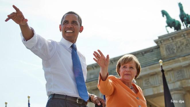 Obama y Merkel en la puerta de Brandenburgo, Berlin. Fuente: www.cdu.de