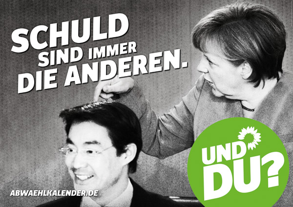 """Traducción: Arriba: """"Culpables son siempre los demás."""" Abajo: """"Y vos?"""". En la foto aparecen Angela Merkel y Philipp Rösler. Fuente:"""
