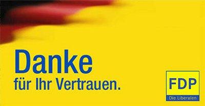 Agradecimiento del Partido Liberal (FDP) luego de las elecciones federales de 2009, cuando alcanzaron el mejor resultado de su historia: 14,6%.