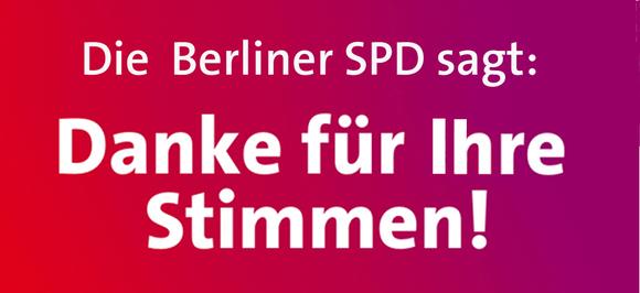 Agradecimiento del Partido Socialdemócrata (SPD) de Berlin luego de las elecciones europeas de 2014, donde lograron un triunfo pese a lo anunciado por los pronósticos.
