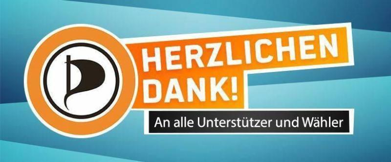 Agradecimiento del Partido Pirata luego de las elecciones comunales de Dresden.
