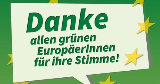 Agradecimiento del Partido Verde (Bündnis 90/die Grünen) luego de las elecciones europeas de 2014.