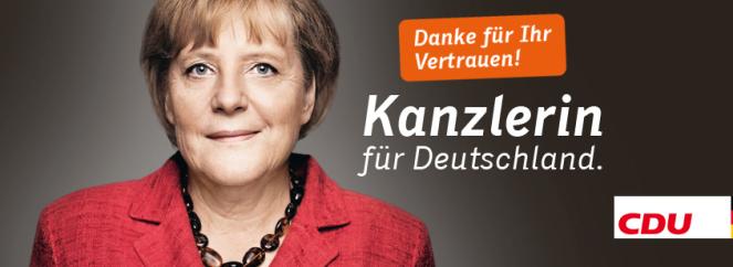 """""""Gracias por su confianza. Canciller para Alemania"""". Agradecimiento de Angela Merkel luego de las elecciones federales de 2013"""