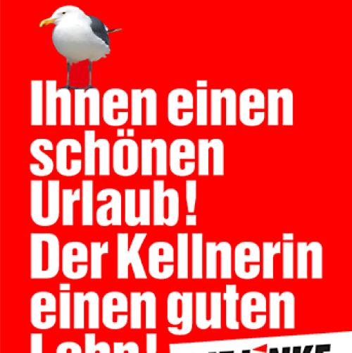 linke vacaciones saludos izquierda alemana postal