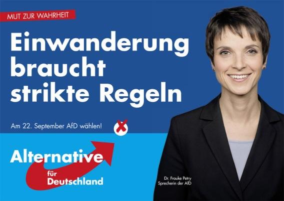 """Afiche electoral de Frauke Petry. Actual jefa de AfD. Elecciones en Sachsen 2014: """"La inmigración necesita reglas claras."""""""