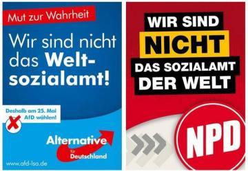 Alternative für Deutschland y el partido nacionalista de extrema derecha utilizaron la misma consigna en sus campañas electorales.