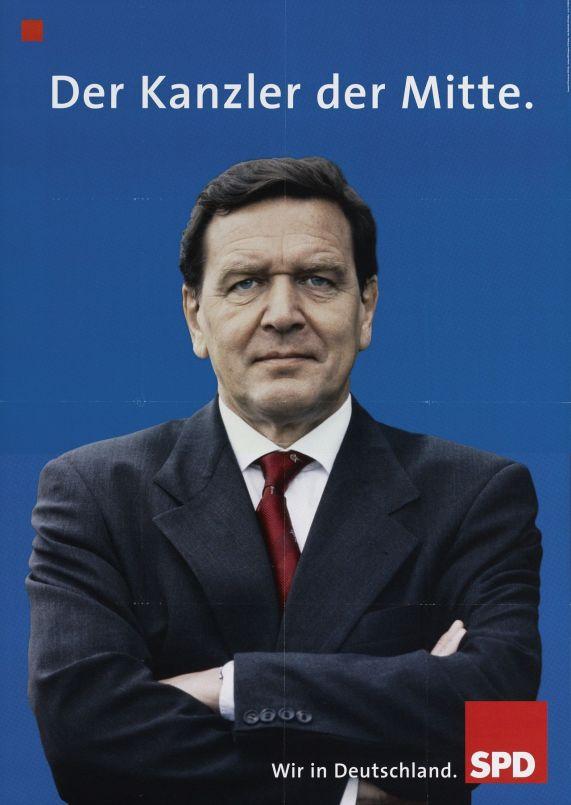 """""""El canciller del centro"""". Afiche del SPD para las elecciones de 2002. Schröder fue el primer canciller alemán en participar de un debate."""