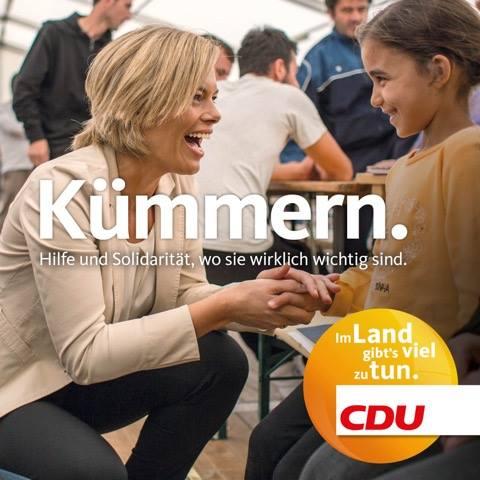"""""""Ocuparse. Ayuda y solidaridad, allí donde es realmente importante."""" Fuente: Fan Page Facebook CDU Rheiland-Pfalz."""
