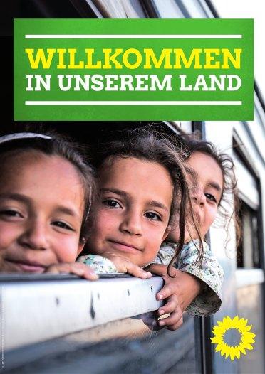 """""""Bienvenidos a nuestro país."""" Afiche Verdes. Fuente: gruene-bayern.de"""