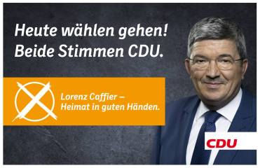 """CDU: """"Hoy a votar! Dos votos para la CDU. Lorenz Caffier. La patria en buenas manos."""" Fuente: Fan Page CDU MV"""