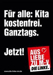 """Die Linke: """"Para todos: Jardin de infantes gratuito. Jornada completa. Ahora! Por amor a Mecklenburg-Vorpommern"""" Fuente: originalsozial.de"""