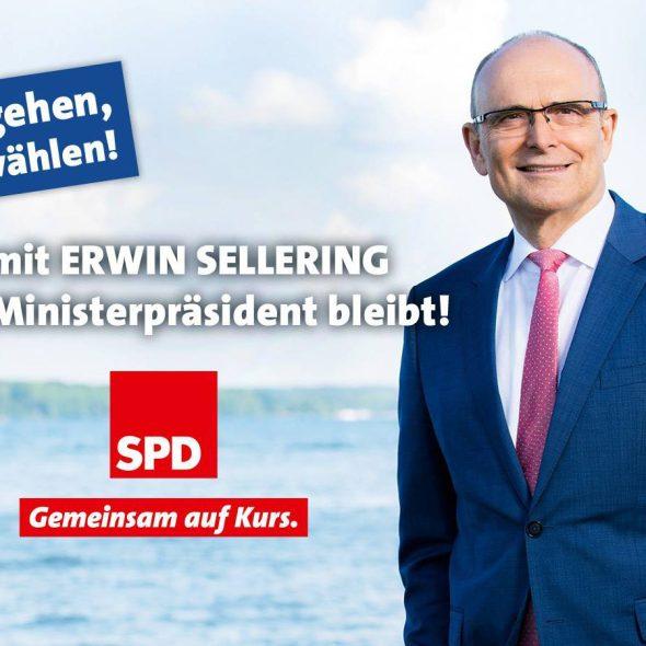 """SPD: """"Salgan, voten SPD! Para que Erwin Sellering siga siendo gobernador! Juntos en marcha."""" Fuente: Fan Page SPD MV"""