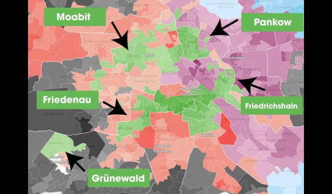 Distritos ganados por el partido verde. Fuente: http://berlinwahlkarte2016.morgenpost.de/