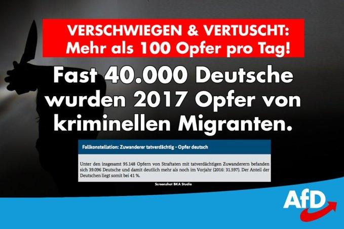 Traducción: Silenciado & ocultado ¡Más de 100 víctimas por día! Casi 40.000 alemanes fueron víctimas de inmigrantes criminales en 2017.
