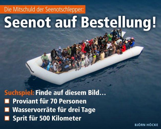Traducción: La complicidad de los rescatistas: ¡Socorro por encargo! Busca en esta imagen... Víveres para 70 personas, agua para tres días, combustible para 500km.