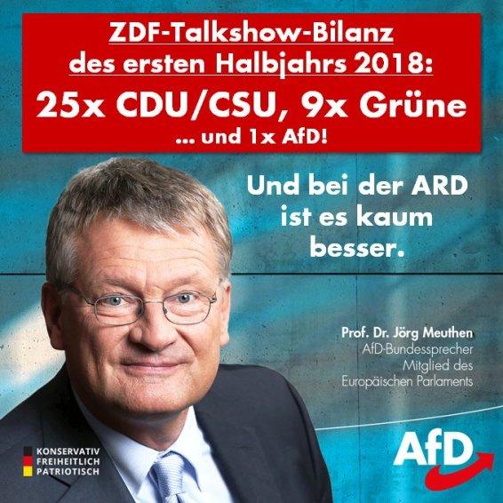 Traducción: Balance de mitad de año de los talk-shows de ZDF: 25 veces CDU/CSU, 9 veces verdes... ¡y 1 vez AfD! Y en ARD es apenas mejor.