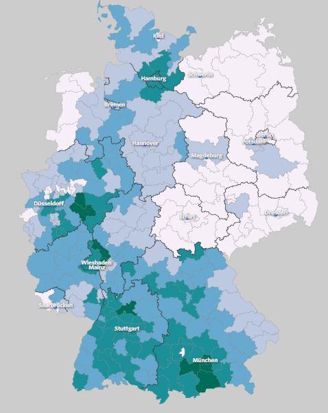 Ingreso neto por distrito electoral. Fuente: wahlatlas.net