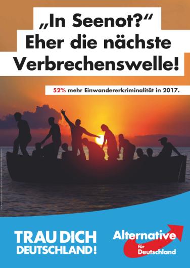 """""""¿En peligro de zozobra? Más bien la próxima ola de delincuencia. 52% más de criminalidad inmigrante en 2017. ¡Atrévete Alemania!"""""""