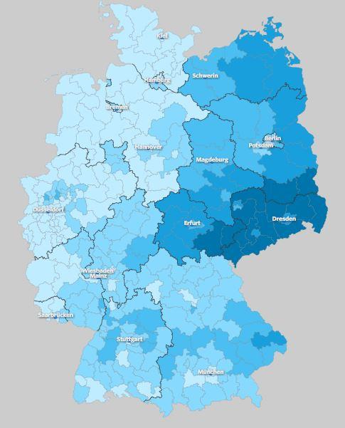 Voto a AfD por distrito electoral. Fuente: wahlatlas.net