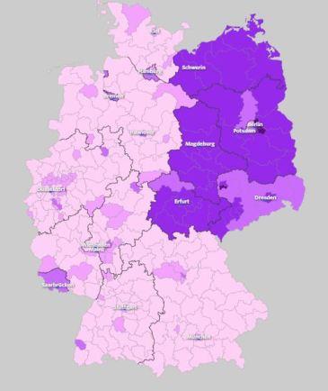 Voto a die Linke por distrito electoral. Fuente: wahlatlas.net